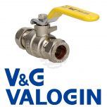 V&G 15 mm Yellow Handle Gas Lever Ball Valve