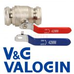 V&G 42mm Full Bore Lever Ball Valve c/w Hot & Cold Levers
